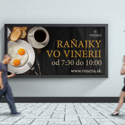 Vineria Topoľčany Grafický návrh billbiardu raňajky